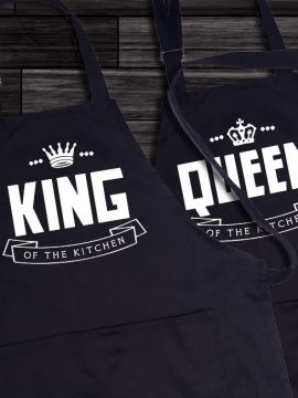 king and queen cooking apron
